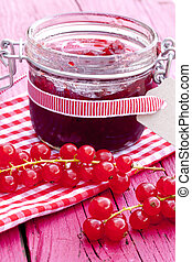 jar of redcurrants jam and some fresh currants