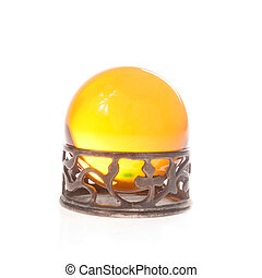 yellow crystal ball - Yellow crystal ball in stand