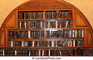 Bookcase - Bookcase and shelves of religious literature at...