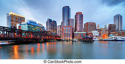 Boston waterfront - Skyline of downtown Boston from the pier