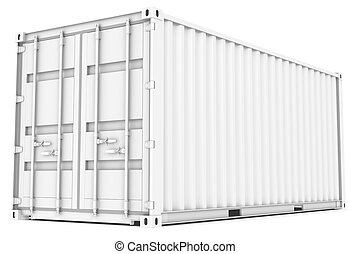 Cargo Container - All white Cargo Container Perspective view...