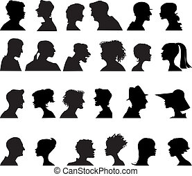 People profiles - Ten women and ten men faces profiles