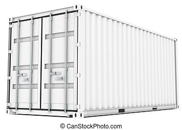 Cargo Container - White Cargo Container, metal locking and...