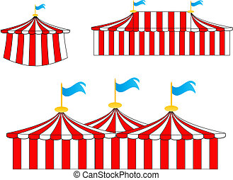 circus tents - illustration of 3 traditional style red and...