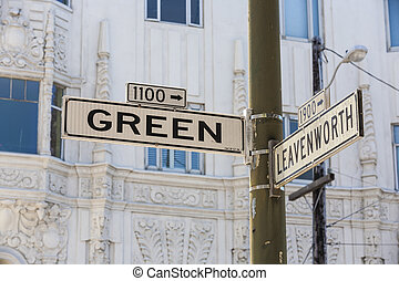 street sign of famous Green Street in San Francisco