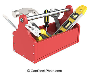 Toolbox with tools. - Red toolbox with tools.