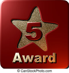 5 Star Award red - This is a 3D 5 star award plaque with a...