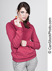 Girl in Hooded Top with Lollipop - Teenage Girl in Hooded...