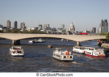 Waterloo Bridge and St Pauls Cathedral Church, London,...