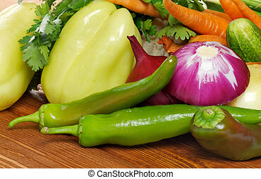 Vegetable Set of Green Bell Pepper, Chili peppers, Red...