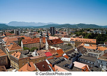 View of Klagenfurt - Panoramic view of Klagenfurt, Austria