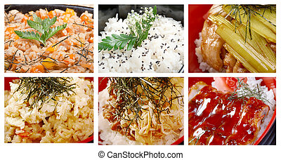 Food set of cooked rice closeup