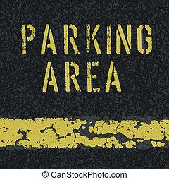 Parking area sign on asphalt background. Vector, EPS10