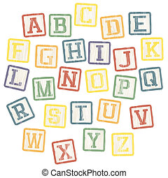 Baby blocks alphabet collection Vector, EPS8