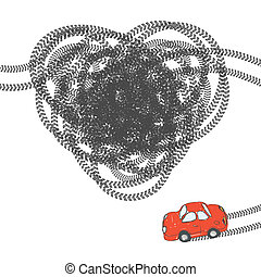 Heart shaped tire trace. Vector, EPS8