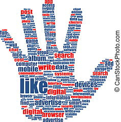 Illustration of the hands, which is composed of text keywords on social media themes. Isolated on white.