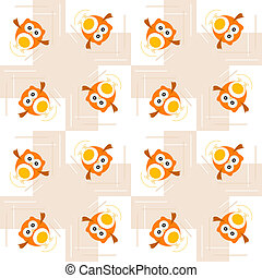 Seamless orange owl illustration pattern for kids