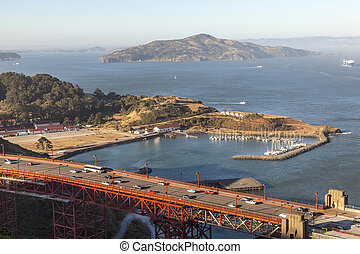 famous San Francisco Golden Gate bridge in late afternoon...