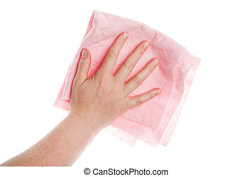 Hand with cleaning cloth - Hand with pink cleaning cloth...