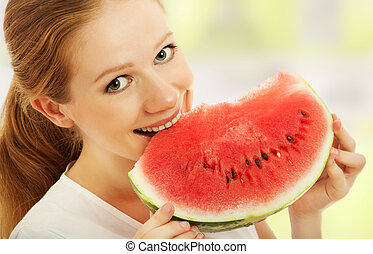 happy girl eats the watermelon - healthy happy girl eats the...