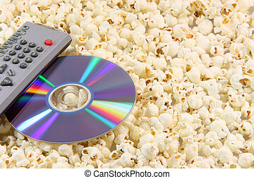 popcorn dvd disc and remote - television remote control and...