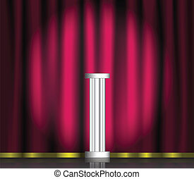 Pink curtain and pedestal on stage with spotlight Vector...