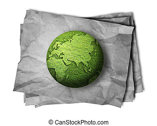 stack of blank vintage paper with grass globe - stack of...