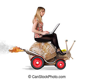 Blond girl on snail - Attractive blond girl with laptop...