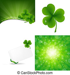 Green Set With Clover - 3 Green Background With Clover,...