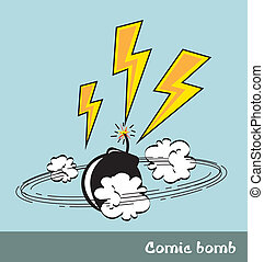 comic - bomb and bolt, pop art style. vector illustration