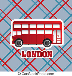 london bus - red london bus over patter background. vector...