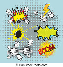 set book comic explosion, colorful vector illustration