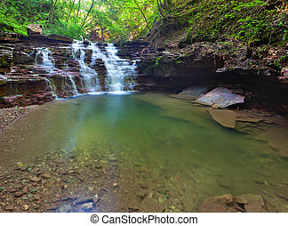 Tranquil waterfall scenery in the middle of green forest