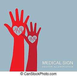 medical sign - red hands over gray background, medical sign....