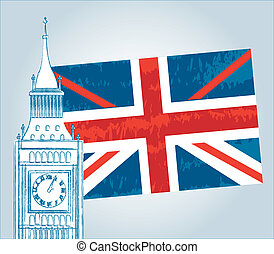 london - tower clock with flag london vector illustration