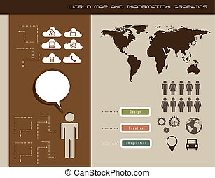 information graphics - world map and information graphics,...