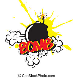 bomb comic over white background. vector illustration