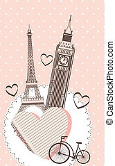 romantic background - tower eiffel and tower clock over pink...