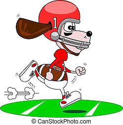 Cartoon dog American footballer - A cartoon dog playing...