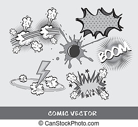 comic - set comic book, black and white vector illustration...