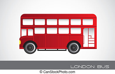 london bus - red london bus over gray background. vector...