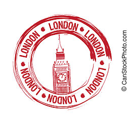 london stamp - red london stamp over white background....