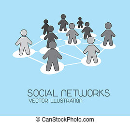 social network with men icons over blue background. vector