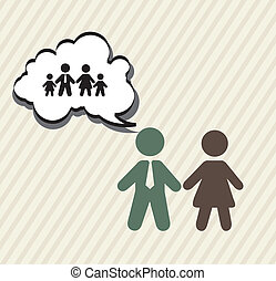 family planning with signs, vintage. vector illustration
