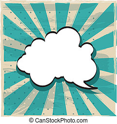 cloud of thought over vintage background. vector...
