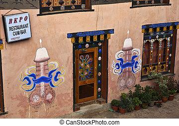 peint, penises, Bhutanese, mur