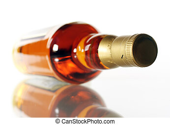 Whisky - Bottle of whisky on white background with...