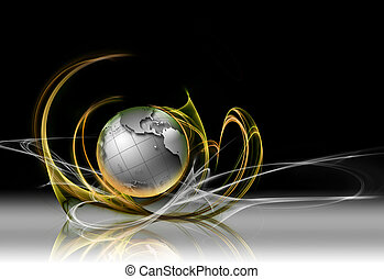 planet in the rays - abstract technology background