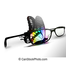 color vision - colorful butterfly and eyeglasses on a white...