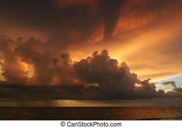 Tropical Sunset from Sanibel - Beautiful stormy sunset on...